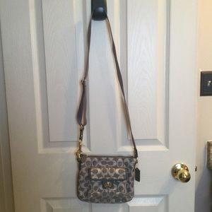 Silver Grey Coach Crossbody Bag